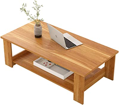 WY&XIAN Coffee Table, Red Leaf Maple Color Simple Modern Living Room Furniture Storage Simple Coffee Table Double Wooden Small Coffee Table Folding,Multifunctional (Size : M)