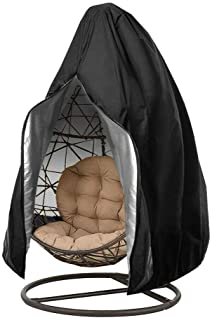 Patio Hanging Chair Cover Egg Swing Chair Covers Waterproof Outdoor Furniture Protector 75in H x 45in D (Black)
