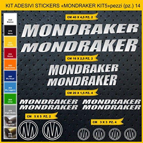 Pimastickerslab Aufkleber Fahrrad MONDRAKER_KIT5 Kit Aufkleber Stickers 14 Stück – bici Bike Cycle wählbar Cod.0885 (090 ARGENTO)