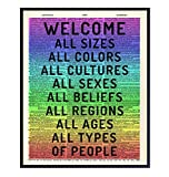 Welcome Sign - Tolerance Dictionary Wall Decor Picture - Art Poster Print for Home, Office, Store, Bar - Gift for LGBTQ, Queer, Gay, Bi, Lesbian, African American, Black, Latino, Liberal Democrats
