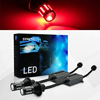 Error Free Canbus Ready Red LED Brake Parking Tail Stop Turn Signal Light Bulbs DRL Parking Lamp No Hyper Flash All in One With Built-In Resistors (3157)