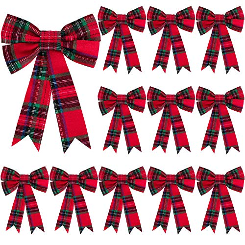 WILLBOND 12 Pieces Christmas Plaid Bow Red and Green Plaid Bow Christmas Tree Ornament Bows for Christmas Tree Home Decor, 5 x 7 Inch