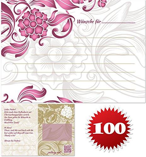 galleryy.net 100 Ballonflugkarten zur Hochzeit GELOCHT, Flugkarten für Hochzeitsballons im Set zum Hochzeitsspiel im Ballonflugkartenset - Hochzeit mit Blumen