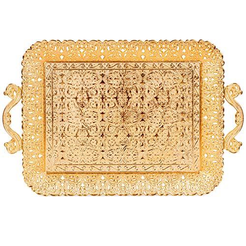 Türkisches Tablett, quadratisch, für Kaffee / Tee / Getränke, goldfarben