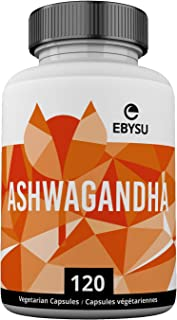 EBYSU Ashwagandha - 120 Capsules Max Strength Supplement Supports Stress Relief & Anti Anxiety Control Root Powder Pills