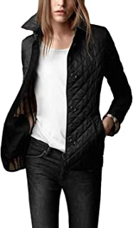 Women's Diamond Quilted Jacket Stand Collar Button Closure Coat with Pockets