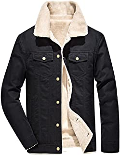 Fuwenni Men's Casual Cotton Sherpa Fleece Lined Miliary Trucker Jackets Warm Coat with Fur Collar
