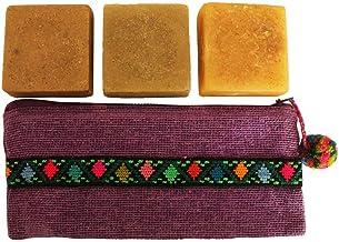 Cosmetiquera Xapontic - Kit de 3 jabones artesanales con bolsa bordada a mano