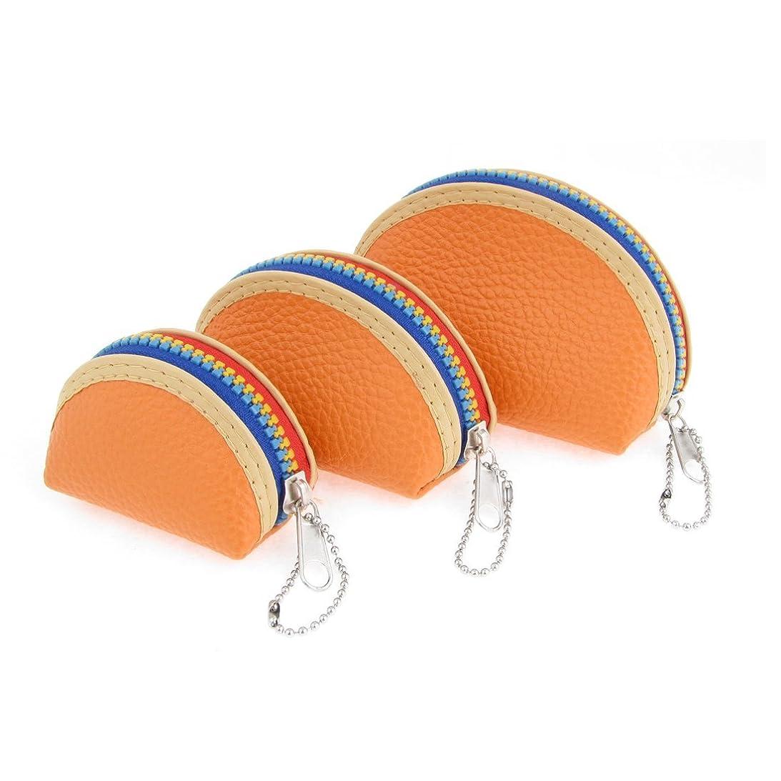シールド添付毒性uxcell 財布 小銭入れ ウォレット 女性 3個セット オレンジ