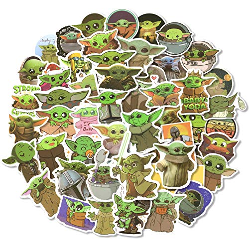 Baby Yoda Star Wars Stickers,50Pcs Mandalorian Decals,Vinyl Waterproof Stickers,for Laptop Luggage Skateboard Phone Notebook Water Bottle,Cute Stickers for Kids Adults