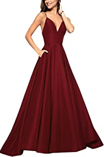HerDress Women's Spaghetti Strap V Neck Prom Dress Long A-line Evening Ball Gown W/ Pockets