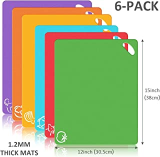 Bedoo, Extra Thick Flexible Plastic Kitchen Cutting Board, Set of 6 Mats With Food Icons & Easy-Grip Handles, BPA-Free, 12 x 15in, 6 colors set
