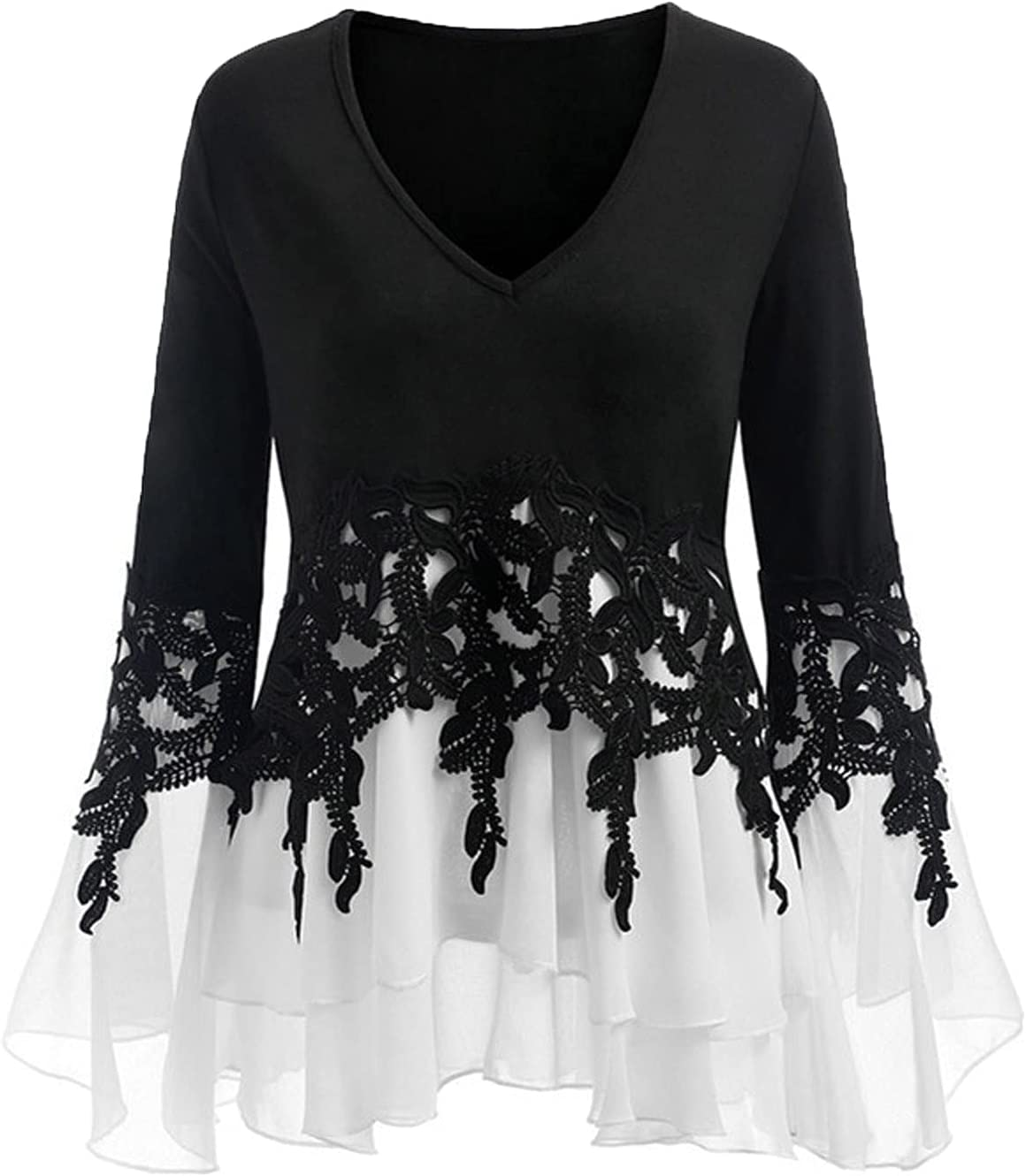 Womens Tops V-Neck Chiffon Hem Shirt Industry No. 1 Pul Hollow Decored trend rank Out Lace