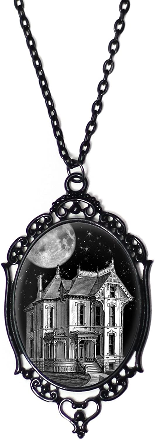 Project Pinup Haunted House Cameo Necklace with Ornate Black Frame on 18  Chain