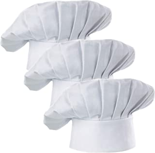 Hyzrz Chef Hat Set of 3 Adult Adjustable Elastic Baker Kitchen Cooking Chef Cap, White