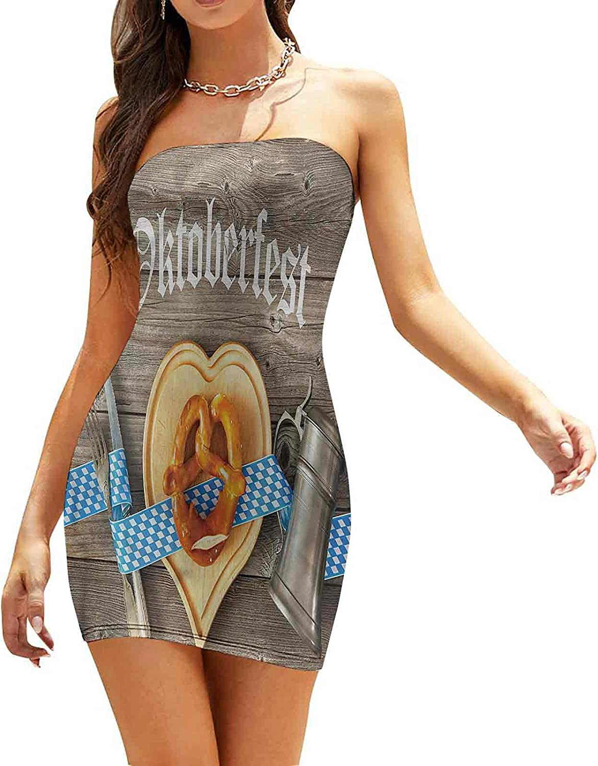 Women's Sleeveless Sexy Tube Top Dress Best Cold Beer Vintage Dresses