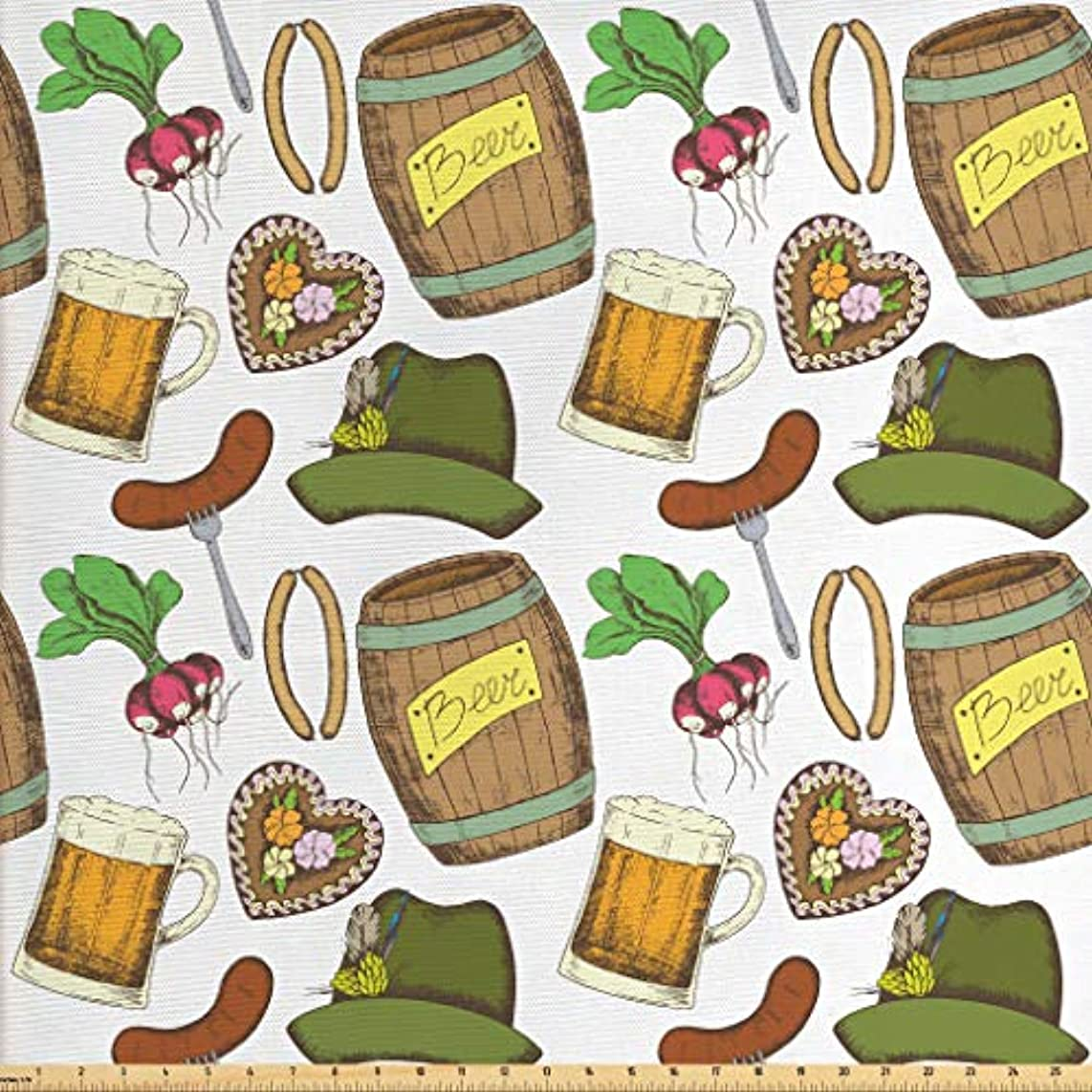 Lunarable Oktoberfest Fabric by The Yard, Many Festive Elements Turnip Sausage Traditional Attire Bavarian Celebration, Decorative Fabric for Upholstery and Home Accents, 3 Yards, Multicolor