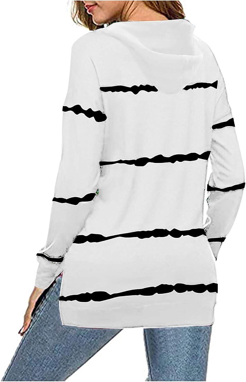 Sweatshirts for Women,Womens Zip Up Sweatshirt Trendy Stripe Pattern Oversized Loose Teen Girls Pullover Sweaters