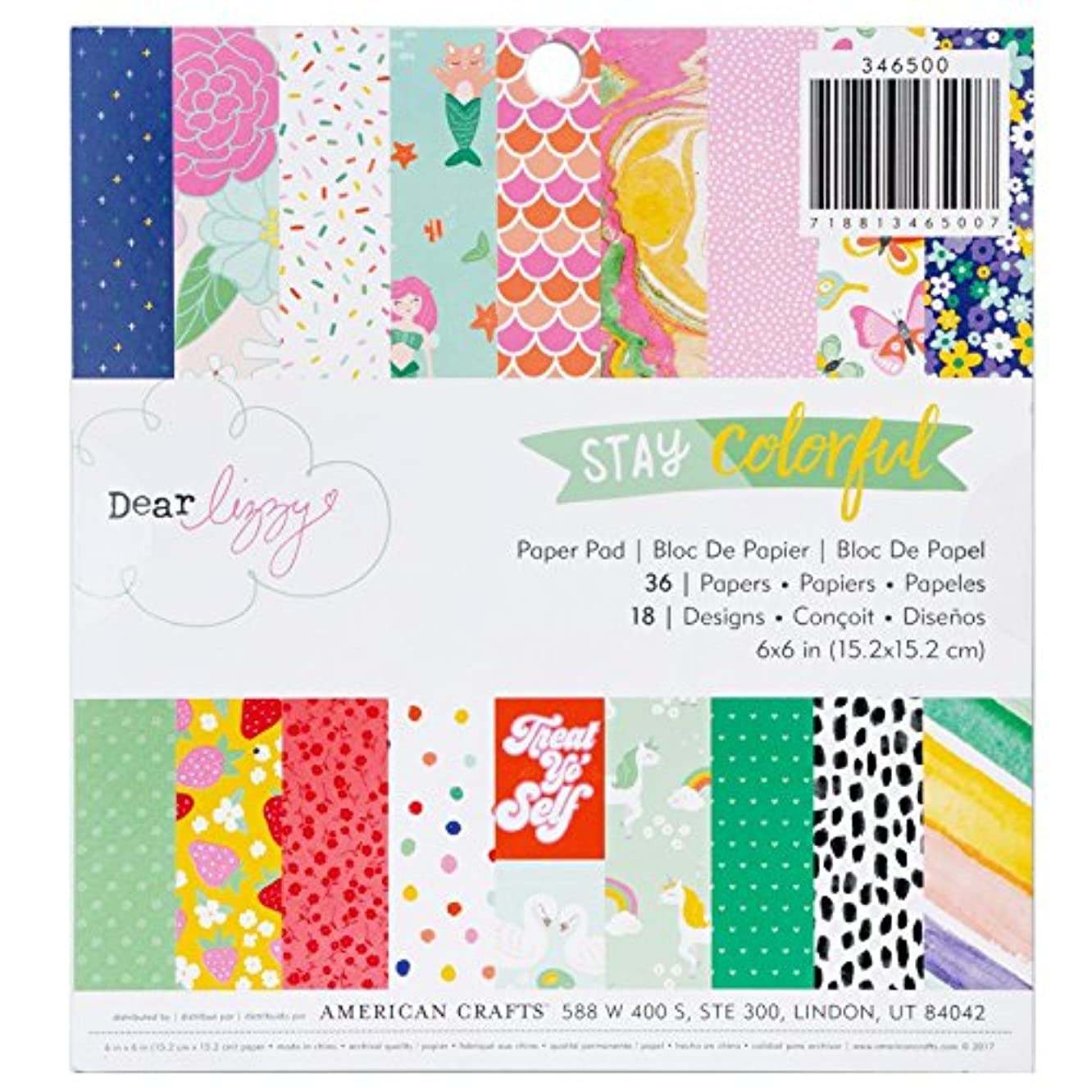 Dear Lizzy 36 Sheet 6 x 6 Inch Stay Colorful Paper Pad