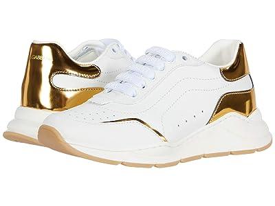 Dolce & Gabbana Kids Sneaker Classica Vitello Nappa (Little Kid) (Bianco/Oro Chiaro) Kid