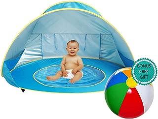 E-MANIS Tienda Playa Bebe,Pop-up Tienda de bebé con Piscina para Infantil Carpa Plegable Portátil Protección Solar Anti UV 50,Tienda Campaña Playa para Bebés para Vacación Playa Parque - Azul
