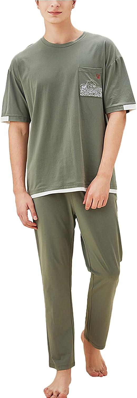 LZJDS Mens Pajamas Set Two-Piece Crewneck Short Sleeve Sleepwear Long Pants PJ Suit,Green,L