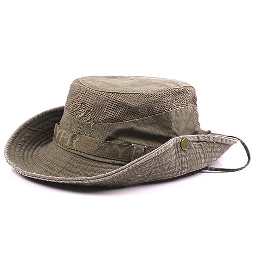45b608339cb021 Thenice Unisex Cotton Sun Cap Outdoor Bucket Mesh Boonie Hat