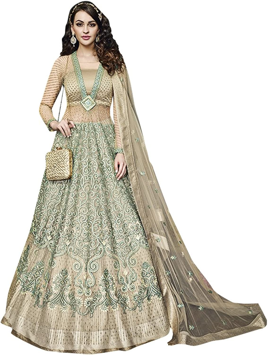 Bollywood Collection Anarkali Salwar Kameez Suit Ceremony Women Bridal Muslin 734 10