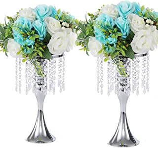 LANLONG 2PCS Acrylic Imitation Crystal Candle Holder Stand Gold/Silver Flower Vase Wedding Centerpiece Lead Road Candlestick for Wedding Event Decoration (Silver, 13