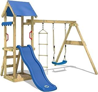 WICKEY parque infantil TinyCabin de madera con columpio y tobogán