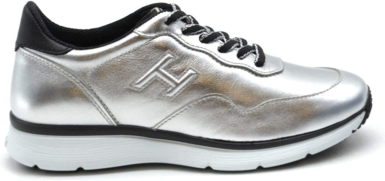 Hogan Women's MCBI38164 Silver Leather Sneakers