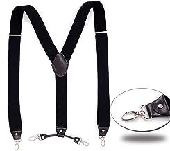 Fashion Belt Stretch Leather Strap Y Back Style Suspender Men's Durable (Color : Black)
