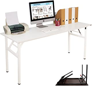 NeedHome Computer Desk 63inches Office Desk Folding Table Computer Table Workstation No Install Needed,White AC5DW-160-SH
