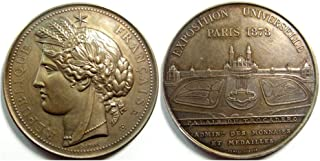 1878 FR EXQUISITE ORIGINAL LARGE BRONZE 1878 WORLD'S FAIR MEDAL w PARIS COIN MINT by FAMED SCULPTOR OUDINE! Medal Brilliant Uncirculated