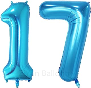 ZiYan 40inch Blue Number 17 Balloon Party Festival Decorations Birthday Anniversary Jumbo foil Helium Balloons Party Supplies use Them as Props for Photos