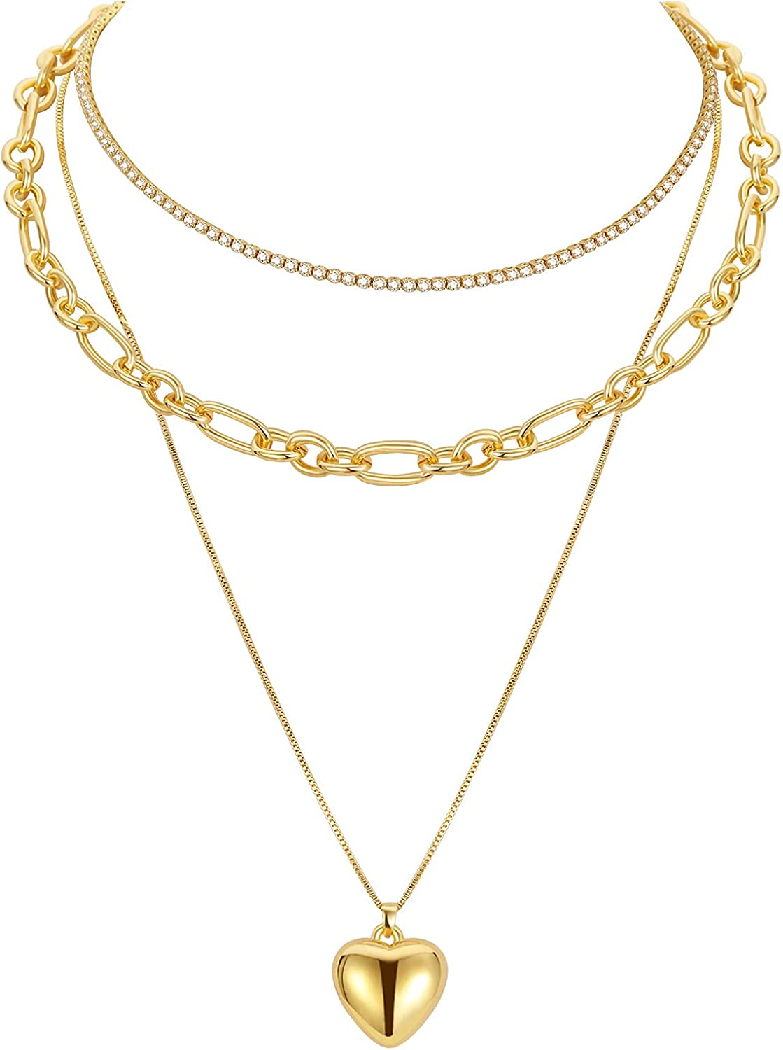 Layered Necklace For Women Gold Chain Pendant Necklace Dainty Chunky Chain Necklace & Diamond-Cut Chain & Heart Gold Necklace 3 Layer Adjustable Stacked Long Y2k Trendy Jewelry