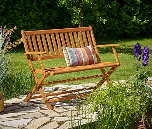 Deuba Gartenbank klappbar FSC®-zertifiziertes Eukalyptusholz 2 Sitzer Garten Holz Bank Parkbank Balkonbank Terrasse