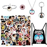 100 Pcs Stickers with Drawstring Bag, Keychain, Necklace, Bracelet and Rose Button Pin, Popular British Singer Waterproof Decals for Laptop Water Bottles Phone
