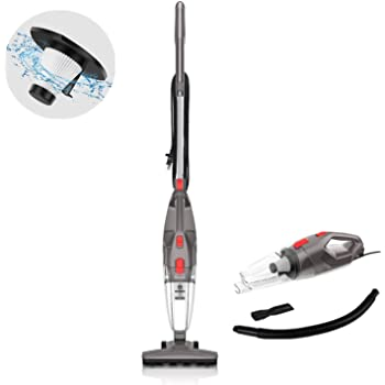 MOOSOO Vacuum Cleaner, 450W Powerful Suction 4-in-1 Upright Vacuum Stick Vacuum Cleaner with HEPA Filters for Hard Floor Lightweight Home pet Hair LT450