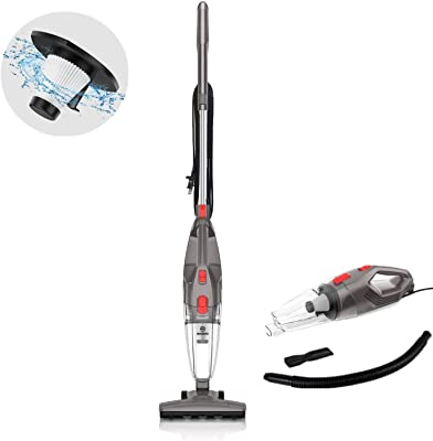 MOOSOO Vacuum Cleaner, 450W Powerful Suction 4-in-1 Stick Vacuum Cleaner with HEPA Filters for Hard Floor Lightweight Home pet Hair LT450