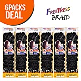 FreeTress Synthetic Hair Crochet Braids 2X Soft Faux Loc Curly 12' (6-Pack, 1B)