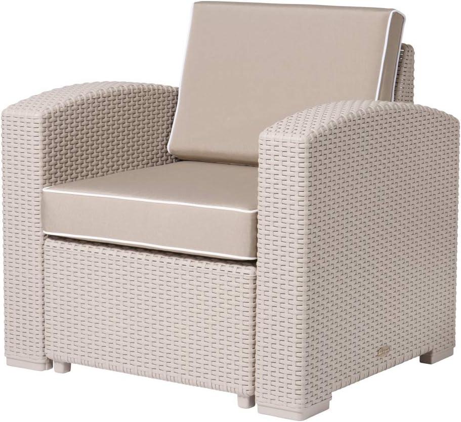 Max 66% OFF Lagoon Magnolia Grey_Rattan Club Kahki Louisville-Jefferson County Mall Chair W Cushion