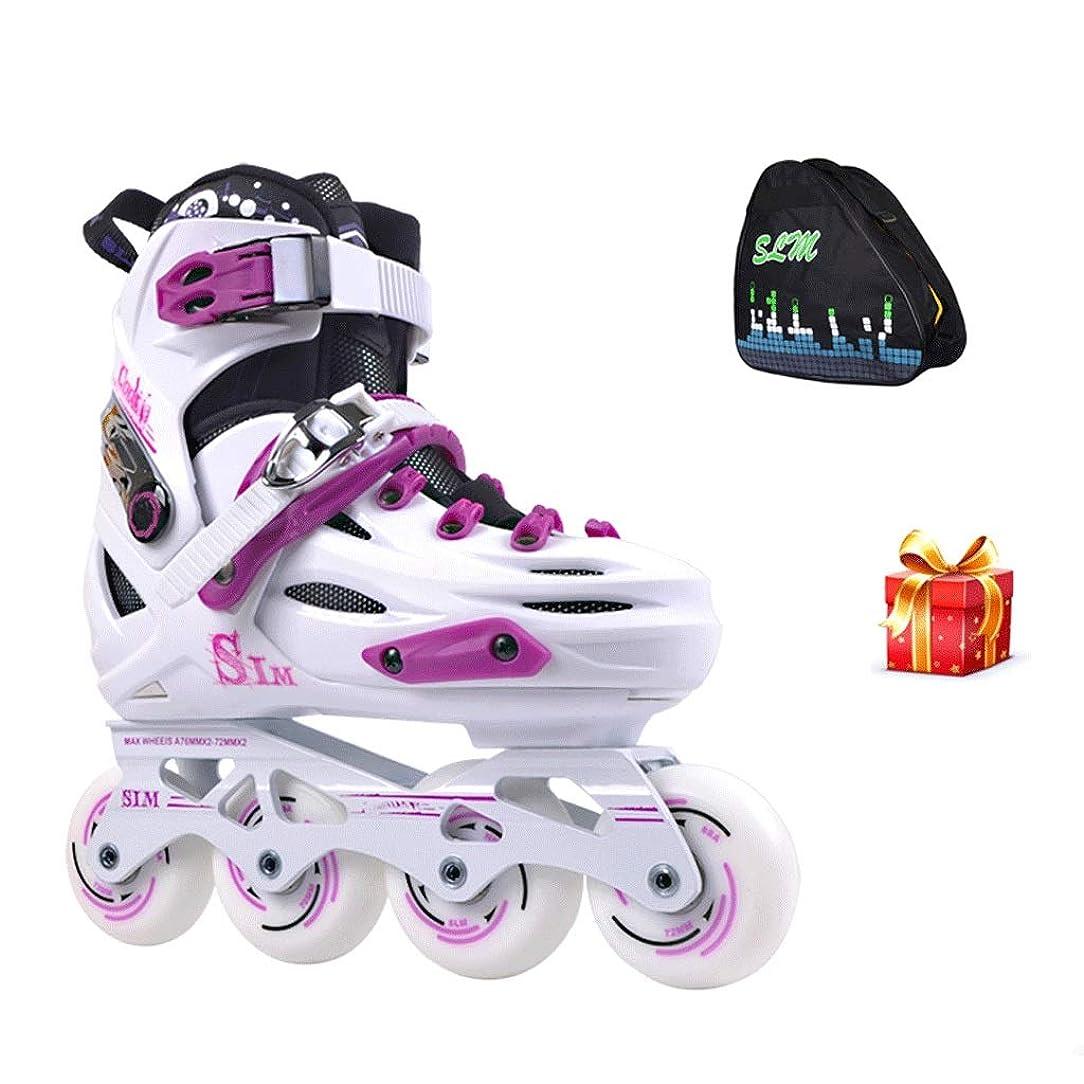 あいまいなへこみ本土Ailj インラインスケート インラインスケート、4つの滑車を点滅させる初心者のための調節可能な滑車、サイズ35から39ホワイトブラック 高構成プロスケート靴 (Color : White, Size : EU 35/US 4/UK 3/JP 22.5cm)
