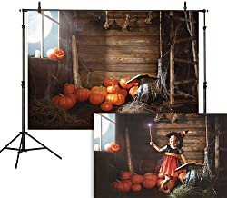 Allenjoy 7x5ft Halloween Photography Backdrop Old Wooden Hut Witches Barn Pumpkins Cobweb Magic Book Broom Jack Night Moon Background Photo Studio Booth Children Party Decorations Banner