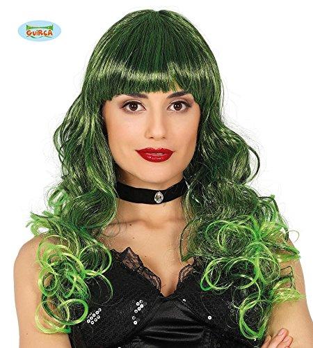 Guirca Damenperücke lang lockig schwarz grün Perücke Hexenperücke Party Halloween