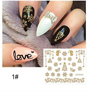 RUNGAO 7 Style 1 Sheet Nail Sticker Gold Metallic Temporary Waterproof Glitter DIY Stamping Decals Lace Flower Decoration Party YZW6004