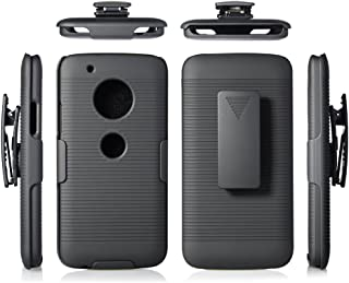 Microseven Compatible with Motorola Moto G5 Plus Case, Moto G Plus (5th Generation) Black Rubberized Slim Hard Case Cover + Belt Clip Holster for Moto G5 Plus (Black Shell Holster)