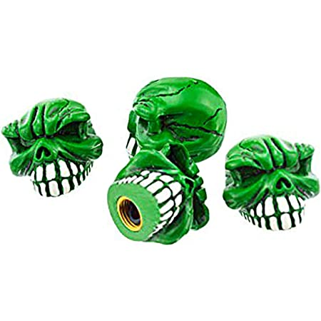 4PCS Blue Motorcycle Lunsom Skull Shape Tyre Valve Dust Caps Anti-Corrosion Stem Covers Accessories Fit Most Vehicle Bike