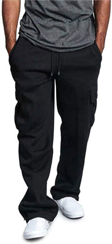 Men's Loose Straight Leg Jogger Heavyweight Fleece Cargo Pocket Sweatpants Pants