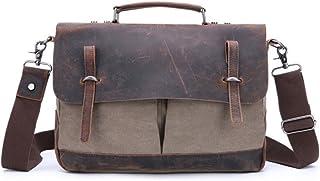 Men's Accessories Office Vintage Style 9.7 Inch Laptop Handbag Casual Business Briefcase Shoulder Messenger Satchel Bag,Black/Blue/Brown/Khaki Outdoor Recreation (Color : Khaki)